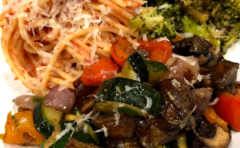 Caramelized vegetables with balsamic and roastedgarlic