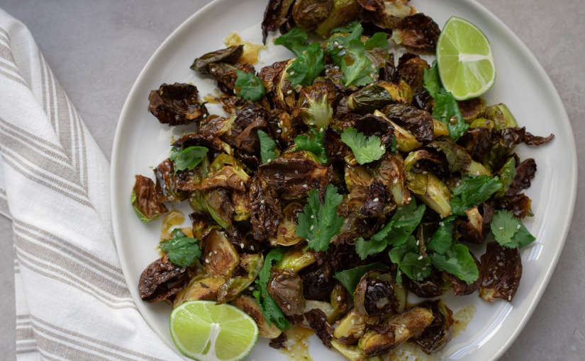 Caramelized brussels sprouts with citrus soyvinaigrette
