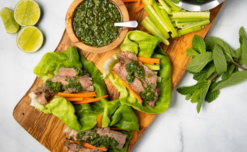 Grilled Thai steak lettucewraps